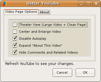 Better YouTube Firefox extension