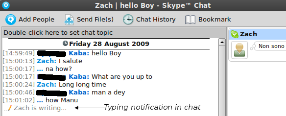 Skype 2.1 beta for Linux - Chat