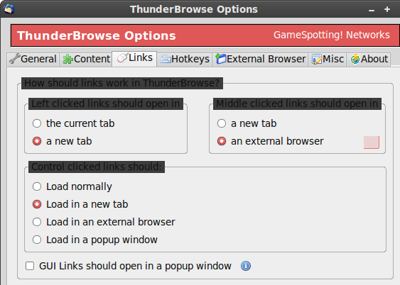 ThunderBrowse Options