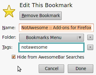 NotAwesome Firefox Add-on