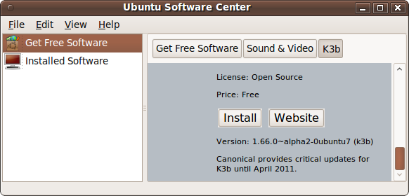 Ubuntu Software Center - K3b