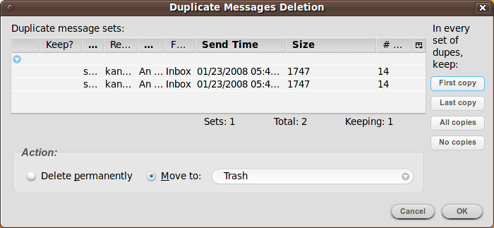 Thunderbird - Remove Duplicate Messages extension