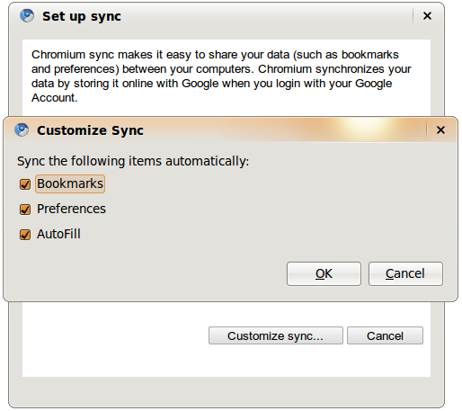 Chrome Sync features