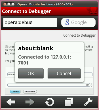 Opera Mobile Emulator Connecting to Dragonfly