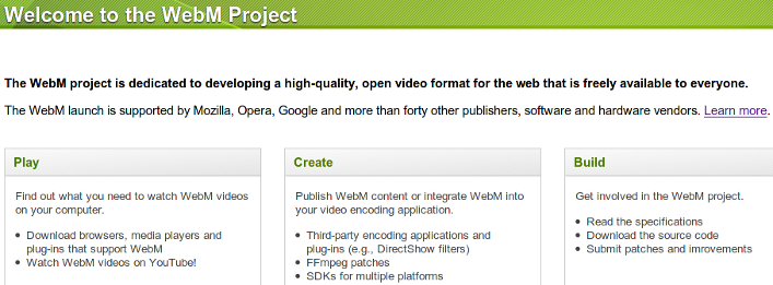WebM open web media project