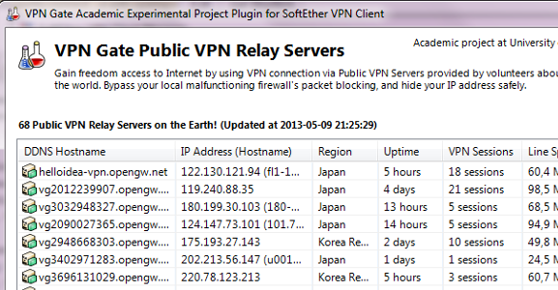 VPN Gate Public VPN Relay Servers